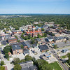 Aerial photo of downtown Crown Point, Indiana taken on Saturday, August 18, 2012. This photograph was taken just southeast of the Lake County Courthouse facing southeast.