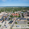 Aerial Downtown Crown Point Square in the Summer