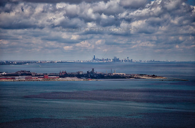 Aerial Chicago Skyline from East Chicago, Indiana