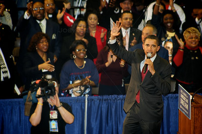 Senator Barack Obama visits Roosevelt High School in Gary, Indiana as he stumps for the Democratic presidential nomination in April 2008. President Obama visited Northwest Indiana several times, including a stop in nearby Portage months later.