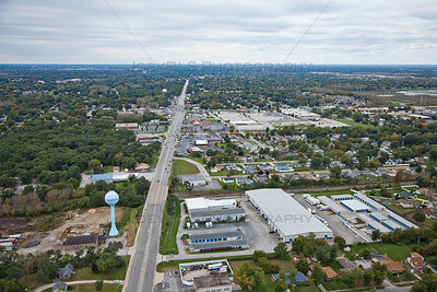 Aerial photo of Griffith, Indiana over Ridge Road
