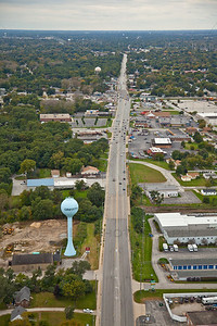 Aerial over Ridge Road in Griffith, Indiana