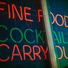 Neon Fine Food Cocktails Carry-out Sign