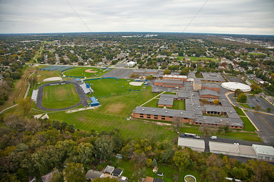 Aerial photo of Highland High School in Highland, Indiana