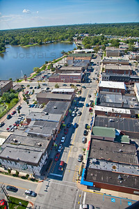 Aerial photo of downtown Hobart, Indiana