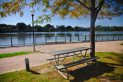 Picnic Bench at Lake George in Hobart, Indiana