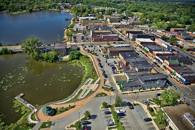 Aerial photo of downtown Hobart, Indiana taken on Saturday, August 18, 2012 in Northwest Indiana. Lake George can be seen to the left and Main Street (IN-51) on the right.