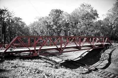 Walking Bridge over Abandoned Railroad in Knox, Indiana