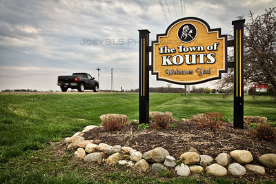Kouts, Indiana Welcome Sign State Road 49