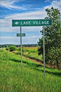 Lake Village, Indiana Sign on US 41