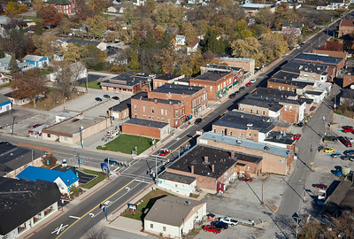 Aerial Downtown Lowell, Indiana