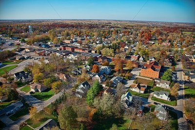 Aerial photo of downtown Lowell, Indiana, taken in October 2012.