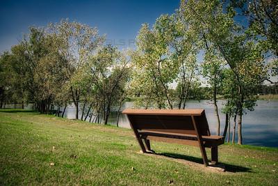 Bench at Hidden Lake Park in Merrillville, Indiana