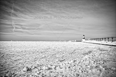 Frozen Michigan City, Indiana Lighthouse in Winter on Lake Michigan