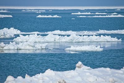 Icebergs in Lake Michigan near Michigan, City, Indiana