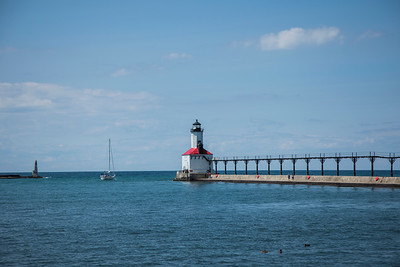 Michigan City, Indiana Lighthouse Summer Day
