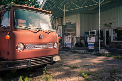 Vintage Truck and Gas Station in Morocco, Indiana