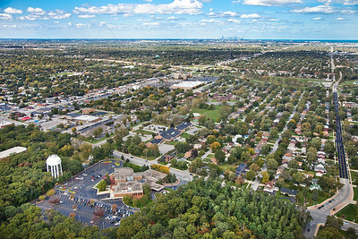 Aerial Munster, Indiana with Chicago Skyline North