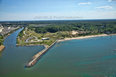 Aerial Portage, Indiana Lekfront on Lake Michigan