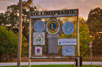 Rolling Prairie, Indiana Welcome Sign