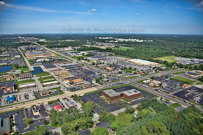 Aerial photo of Schererville, Indiana facing northeast looking north up Indianapolis Blvd from just south of US 30. The intersection of US 41 and US 30 is known in Northwest Indiana as 'The Crossroads of America'.