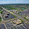 Aerial photo of Schererville, Indiana over US 41 and US 30 facing northwest, overlooking Tiebel's Restaurant.