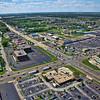 Aerial photo of Schererville, Indiana over US 41 and US 30 facing northwest, overlooking Tiebel's Restaurant.
