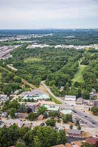 Aerial photo of Downtown Schererville, Indiana with Chicago Skyline