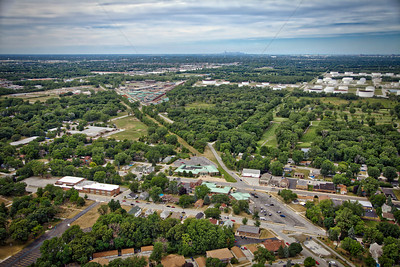 Aerial downtown Schererville, Indiana with Chicago Skyline