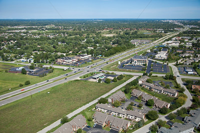 Aerial Schererville, Indiana at Burr and US 30