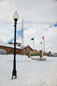St John, Indiana Town Hall in the Winter