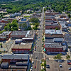 Aerial photo of downtown Valparaiso over Lincolnway taken on Saturday, August 18, 2012. This photo faces west towards the Porter County Court building.