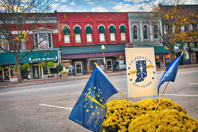 Indiana Bicentennial Sign in Downtown Plymouth, Indiana