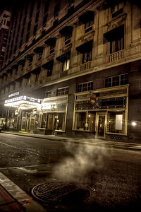An eerie photo at night of the Omni Parker House in downtown Boston.