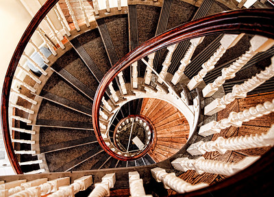 The spiral staircase in the historic Old State House in Boston.