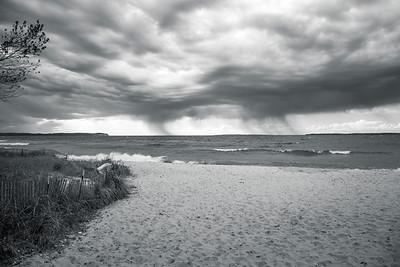 Empire Beach in Empire, Michigan - Black and White, Oct 2020
