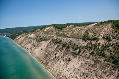 Aerial of Sleeping Bear Dunes near Glen Arbor, Michigan