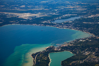 Aerial of Traverse City, Michigan in the Summer