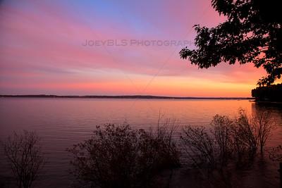 Brilliant Sunset over West Grand Traverse Bay near Traverse City, Michigan
