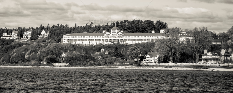 The Grand Hotel on Mackinac Island in Black and White - Panoramic