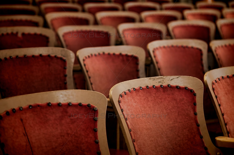 Old theater seats in an old theater on Mackinac Island. This theater was used for the soliloquy by Jane Seymour in the scene from the 1980 film Somewhere in Time.