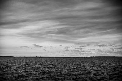 The Mackinaw Bridge in Northern Michigan - Black and White