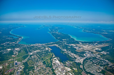 Aerial photo of Traverse City, Michigan and Grand Traverse Bay