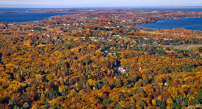 Aerial Fall Photo of Old Mission Peninsula in Northern Michigan