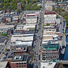 Aerial Downtown Traverse City Front Street Spring Trees