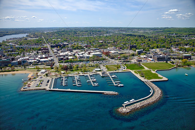 Aerial of downtown Traverse City, Michigan over Grand Traverse Bay