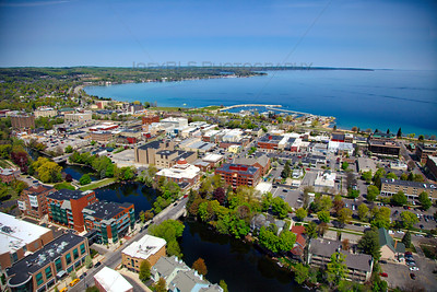 Aerial of downtown Traverse City, Michigan over the Boardman River