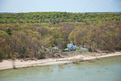 Aerial photo of the Old Mission Lighthouse in Traverse City, Michigan