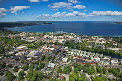 Aerial downtown Traverse City, Michigan