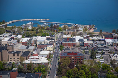 Aerial of Traverse City, Michigan in the Spring